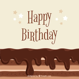 Tasty birthday background with chocolate cake