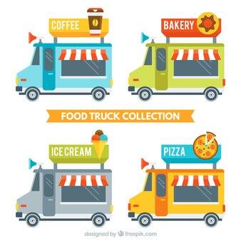 Tasty food trucks in flat design