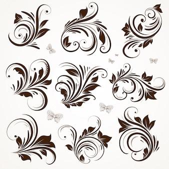 Tattoo rococo line set victorian