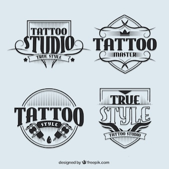 Tattoo studio logotypes in vintage style