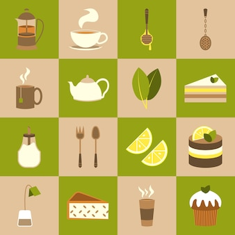 Tea icons collection