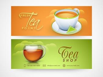 Tea Shop website headers or banners design for cafe and restaurants.