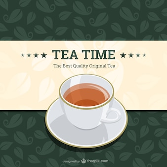 Tea time background with tea leaves