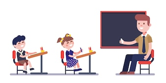 Teacher or tutor studying with group of kids