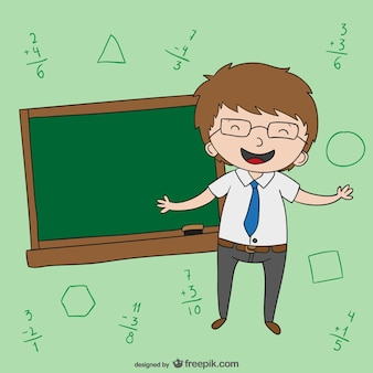 Teacher with blackboard cartoon