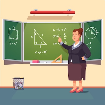 Teacher woman giving a trigonometry lecture