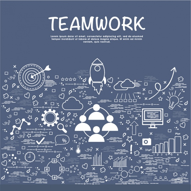 Teamwork background with hand-drawn business objects