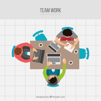 Teamwork concept with young workers