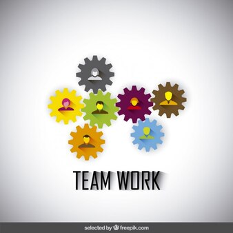 Teamwork illustration made with gears and avatars