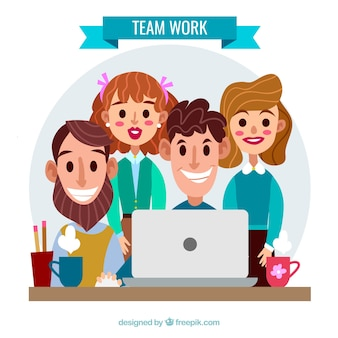 Teamwork with happy young workers