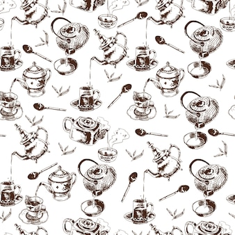 Teapot and cups traditional tea ceremony accessories vintage seamless wrap paper pattern doodle sketch vector illustration