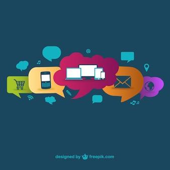 Tech devices in speech bubbles