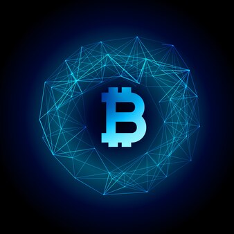 Techno style bitcoin currency vector background