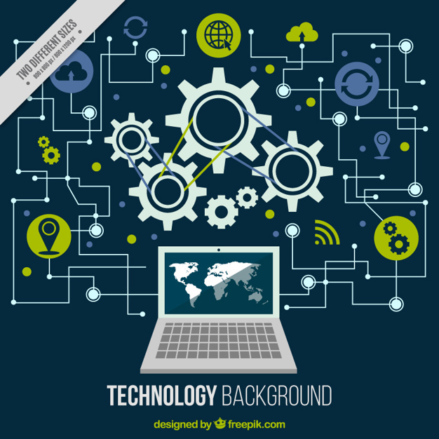 Technological background with a computer and circuits