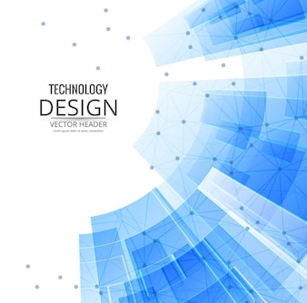 Technological background with blue geometric shapes