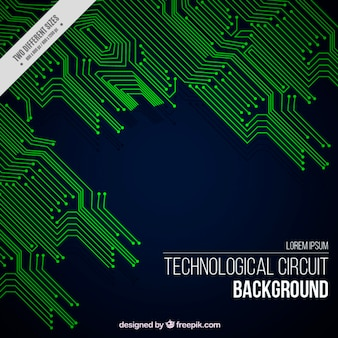 Technological background with green circuits