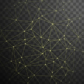 Technological background with yellow dots and lines