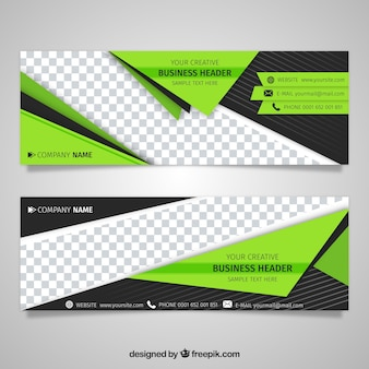 Technological banner with green geometric shapes