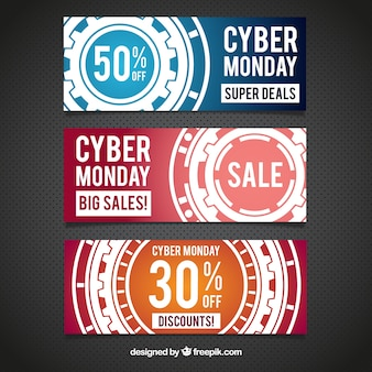 Technological banners of cyber monday