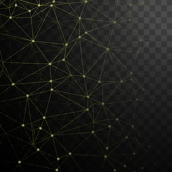 Technological black background with dots and yellow lines