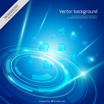 Technological blue background with abstract shapes
