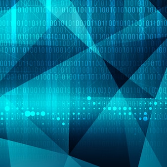 Technological polygonal background with binary numbers
