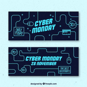Technological sale banners of cyber monday