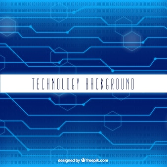 Technology background with circuits and geometric figures