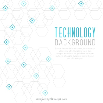 Technology background with hexagons and blue squares