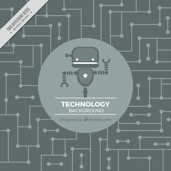 Technology background with robot in gray tones