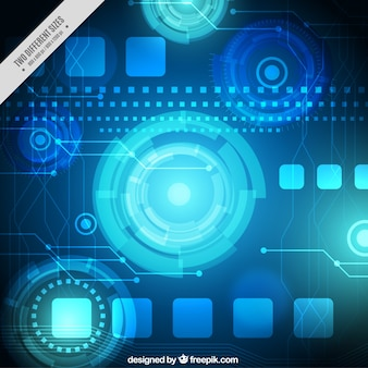 Technology background with round forms in blue tones