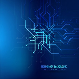 Technology blue background with lines and dots