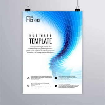 Technology brochure with blue geometric shapes