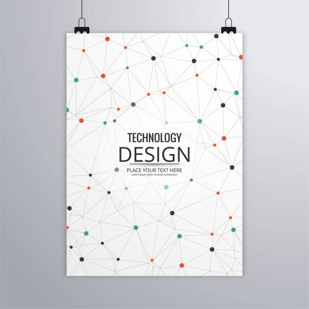 Technology brochure with dots and lines