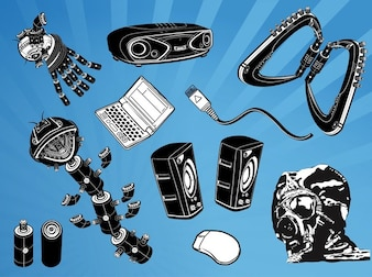 Technology gadgets music elements vector