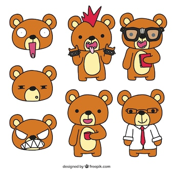 Teddy bear with different styles