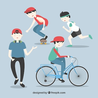 Teen doing sport illustration