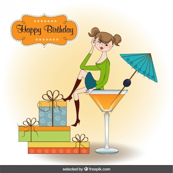 Teenager on cocktail cup birthday card