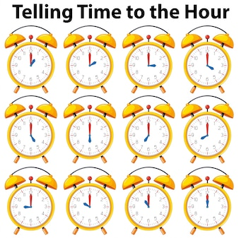 Telling time to the hour on yellow clock