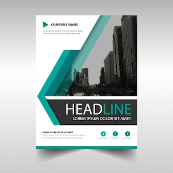 Template for brochure with geometric shapes, blue color