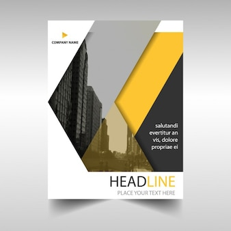 Template for brochure with geometric shapes, yellow color