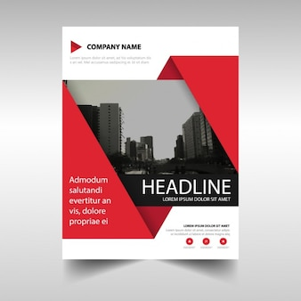 Template for geometric brochure, red color