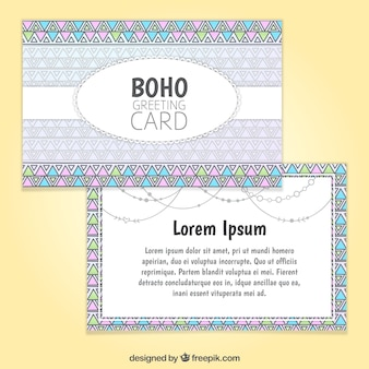 Template of boho greeting card