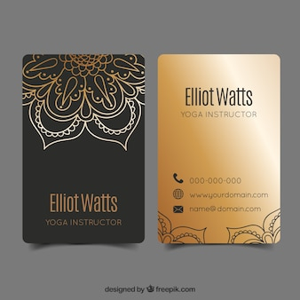 Template of business card with ethnic style