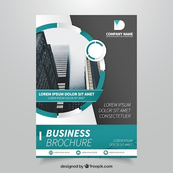 Template of business flyer with green elements