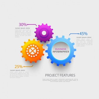 Template of business infographic with colorful gears