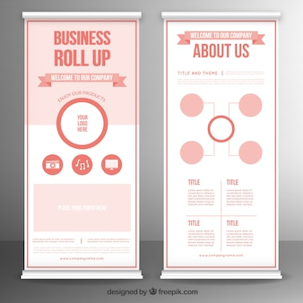 Template of business roll up in red tones