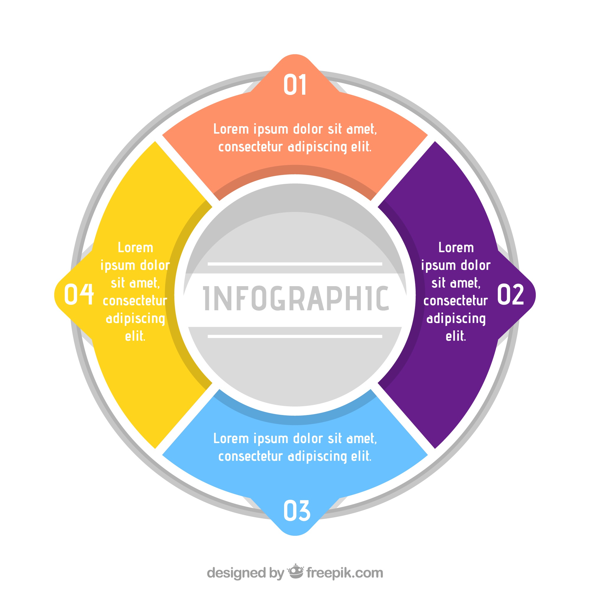 Template of circular infographic with four phases