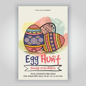 Template of easter flyer with colorful eggs