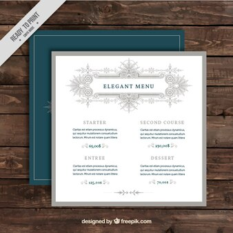 Template of elegant menu